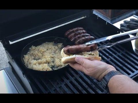 bratwurst and sauerkraut sandwiches