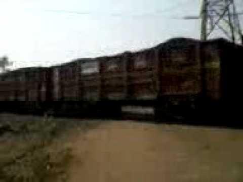 A coal filled rack passing through Korba, Chhattisgarh, India