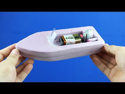 How to Make a Boat - Simple 9v Battery Foam Boat Mini Gear