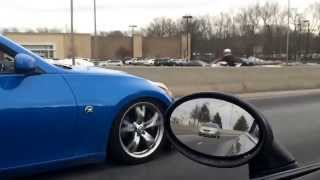 Nissan 370z motordyne exhaust w/ invidia test pipes fly-by sound and flames