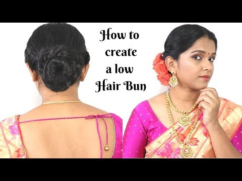 Easy 2 mins Traditional Low Bun Hairstyle || Simple and neat style that suits all occasions thumbnail