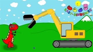 Tyrannosaurus Rex and Excavator for kids - Koparka - Dinozaury dla dzieci pl