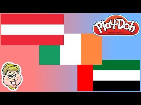 Play-Doh Flags! Austria, Ireland, and United Arab Emirates!  EWMJ #128