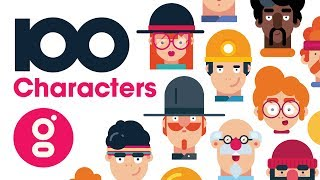 100 Flat Design Characters, Adobe Illustrator Avatars, Promo Video for Cool Profile Faces, Gigantic