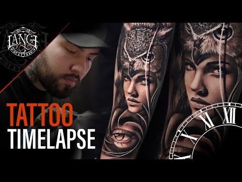 Tattoo Timelapse: Realism in Black and gray – Woman with owl plus eye