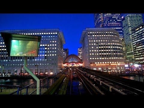 DLR - night ride through Canary Wharf