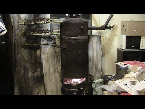 My Shop Oil Burner Wood Stove Rigged In My Kitchen OVERKILL Homemade Heater