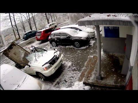 Concrete Block Crushes Car