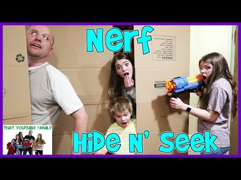 NERF Hide And Seek In Huge Box Fort! / That YouTub3 Family