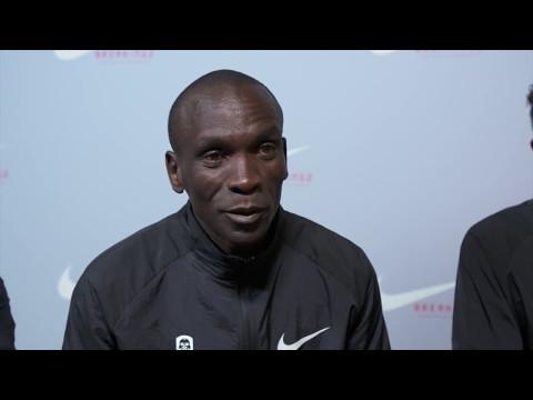 Eliud Kipchoge chats after running a 2:00:25 marathon
