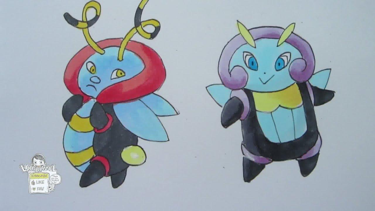 How to draw Pokemon: No  313 Volbeat, No  314 Illumise