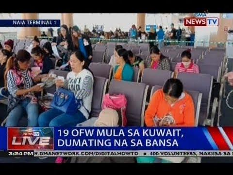 NTVL: 19 OFW mula sa Kuwait, dumating na sa bansa