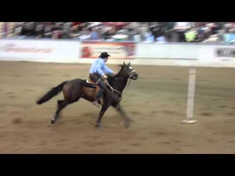 Rider almost falls from Horse during Pole Bending at Maritime Fall Fair 2010 10-11-10