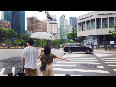 [4K] Walk through the rainy day of Seoul city Jung-gu : After heavy rain drop
