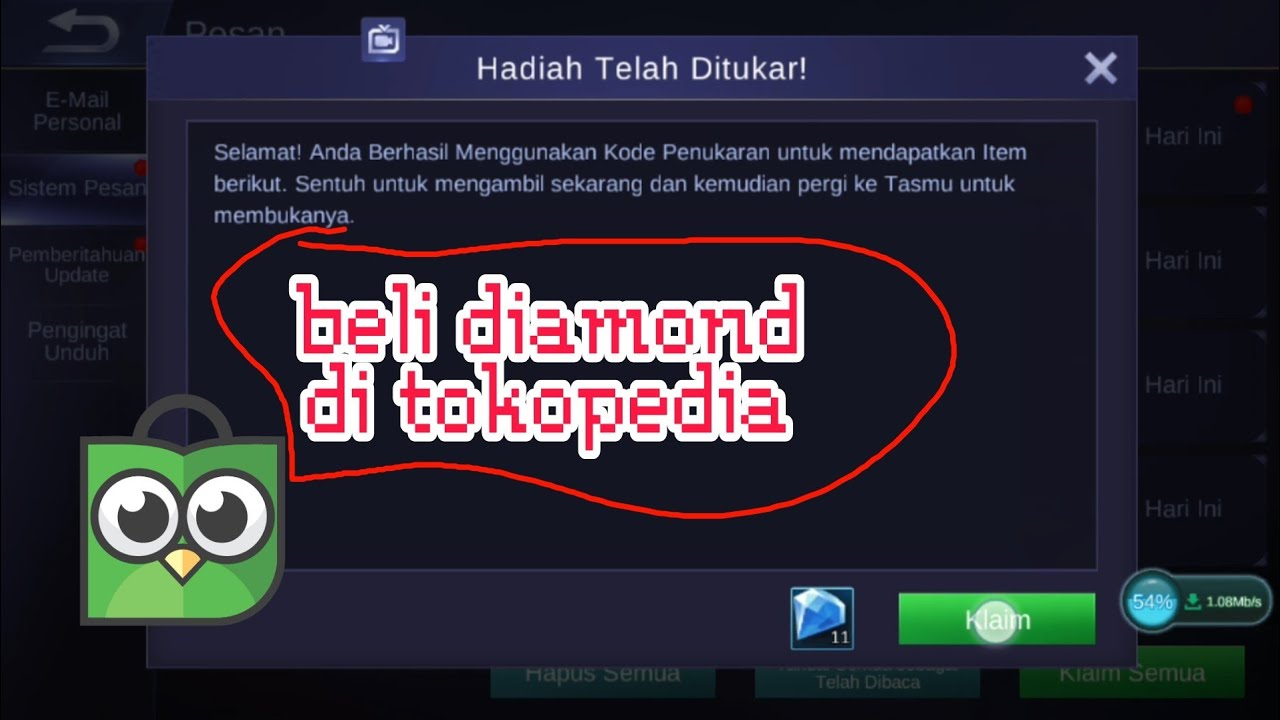Cara Beli Diamond Mobile Legend Di Tokopedia Youtube