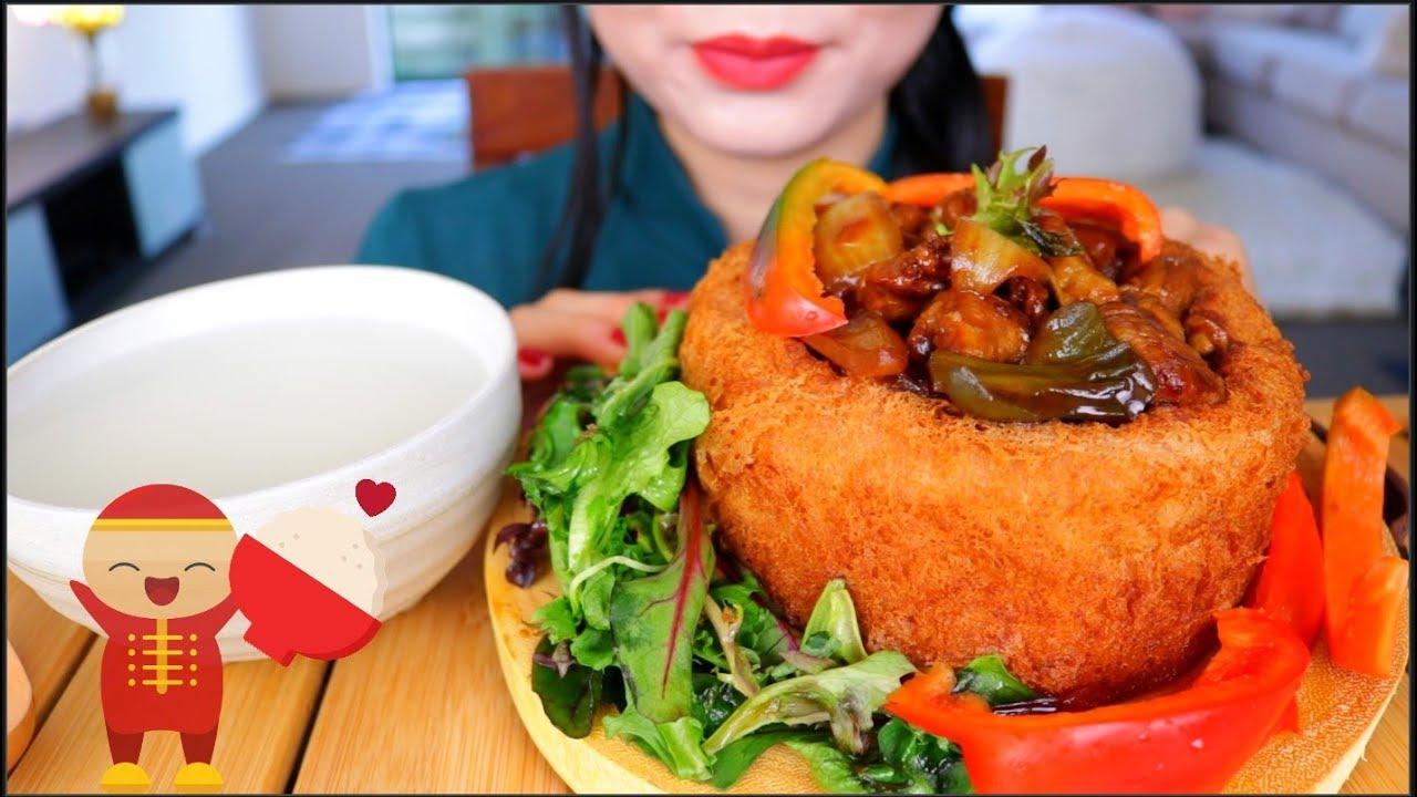 Asmr Crispy Yam Ring Kung Pow Chicken Eating Sounds No Talking