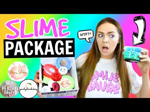 SLIME PACKAGE UNBOXING From FAMOUS Etsy Slime Shops! Glitter Slimes,  Peachybbies + 8 MORE!