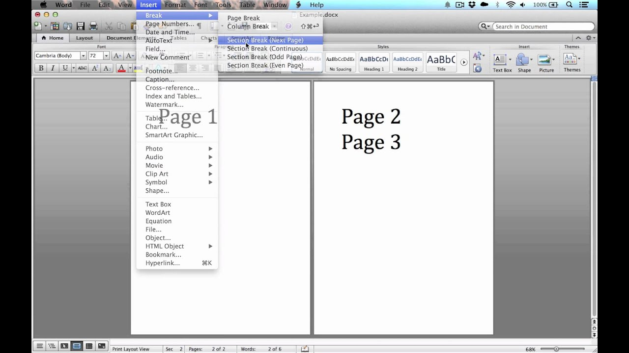how to add a landscape page in word