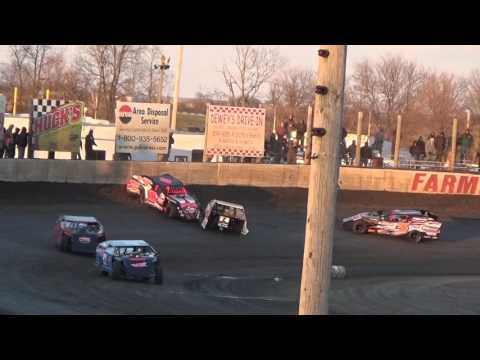 Justin Allgaier Modified Heat Race crash Farmer City Raceway April 2 2016