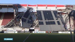 Ravage bij AZ-stadion door ingestort dak: 'Geluk dat er geen wedstrijd was'