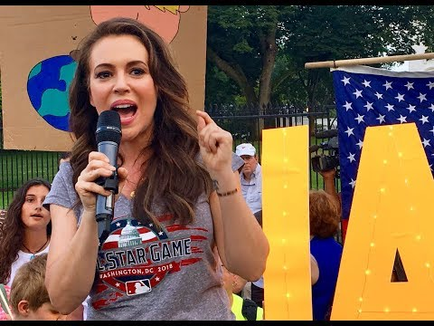 Alyssa Milano protests at the White House July 17, 2018