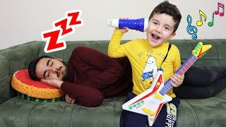 Yusuf play musical instruments and wake up Uncle-Funny Kids Video