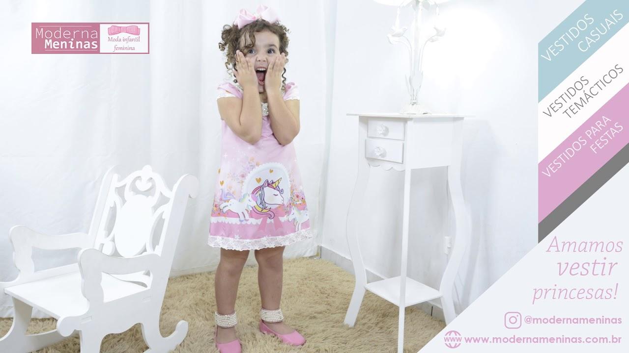 f25126ed9c4 Vestido infantil festa unicórnio rosa com pérolas – tubinho trapézio luxo