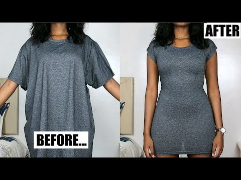 Oversized T-Shirt To Fitted Dress in Minutes! | DIY Clothing Transformations