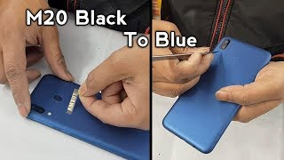 Samsung M20 Black Converted in Blue color with logo and lamination decorate trick