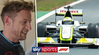 Jenson Button drives 2009 Brawn BGP001 car around Silverstone!
