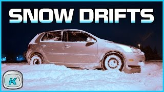 vw rabbit snow drifts fwd can be fun