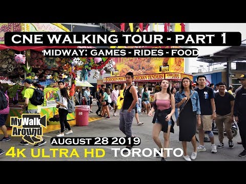 CNE Toronto 2019 - Frenzy and fun at the midway games, rides, food vendors (walking tour 4k video)