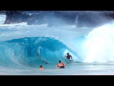 Sandy Beach  bodyboarding-Hurricane Guillermo waves