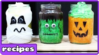 Halloween Mini Jar Cake Recipe | Cake In A Jar | Easy Halloween Recipes | DIY Halloween Treats