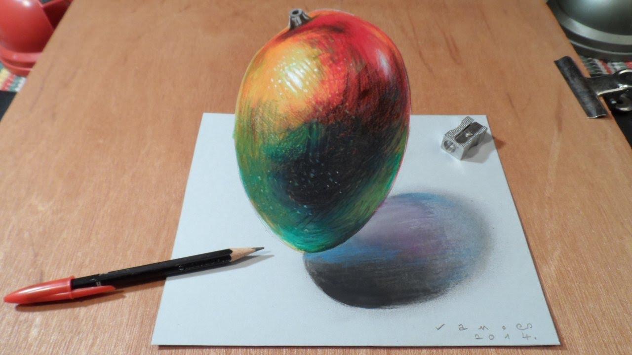 Watch My Draw a 3D Levitating Mango, Trick Art by Vamos ...