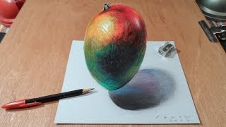 Watch My Draw a 3D Levitating Mango, Time Lapse