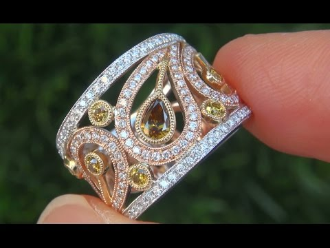 Estate AUCTION VS1 EF Fancy Yellow Diamond Cocktail Ring 18k