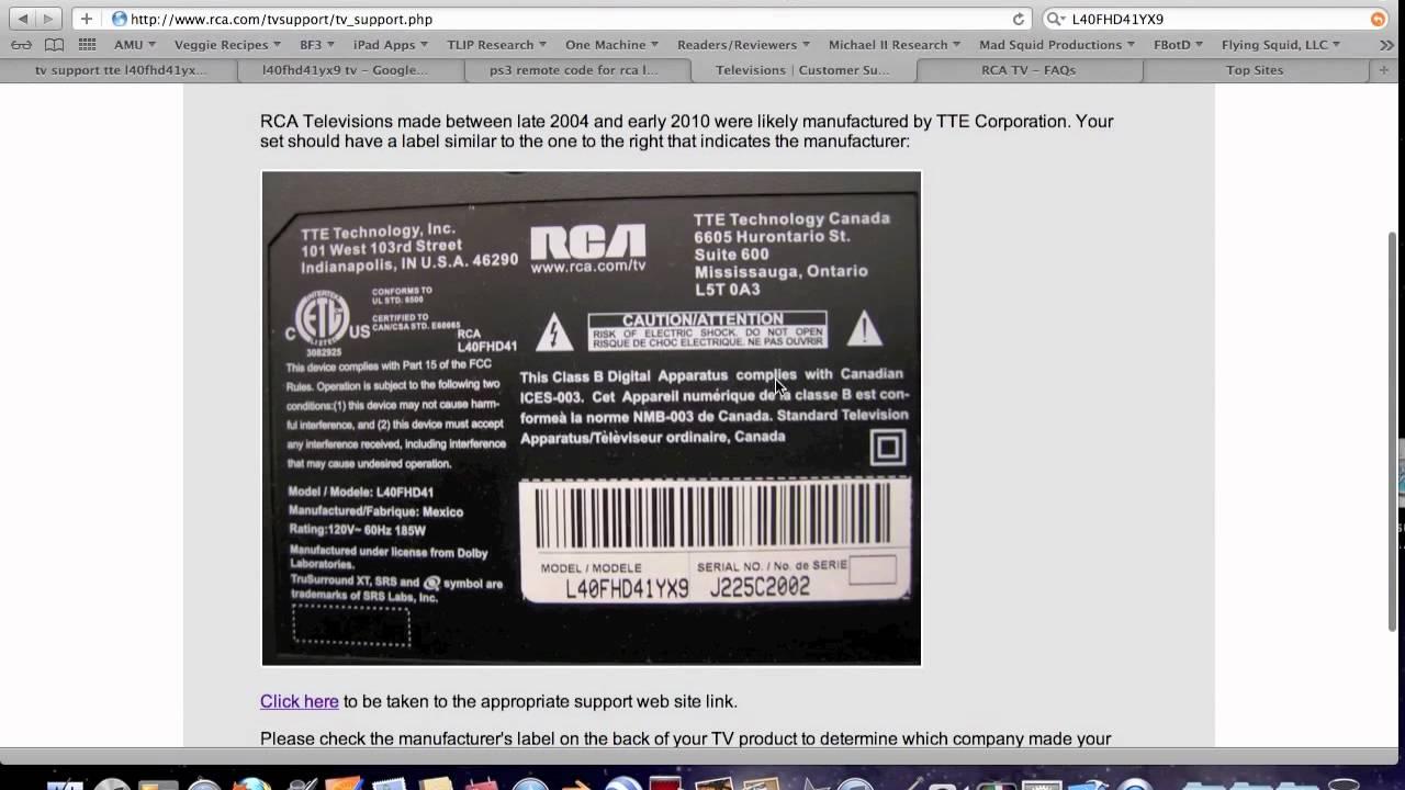 Rca universal remote codes tv