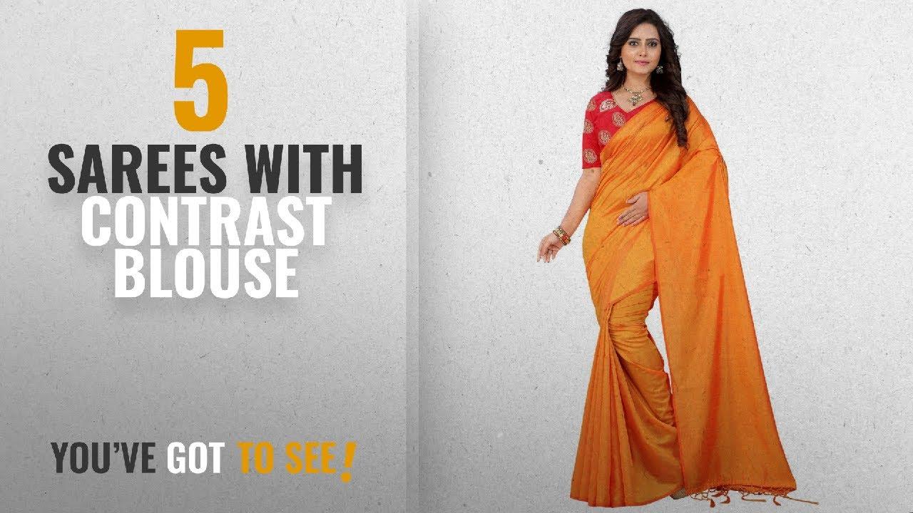 1b439b4acbda5 Top 10 Sarees With Contrast Blouse  2018   e-VASTRAM Womens Plain Soft silk  Tassel Saree With
