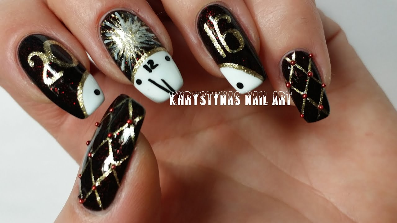 New years nail art freehand diy youtube prinsesfo Image collections