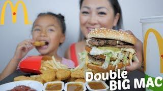 McDonald's Double BIG Mac Burger & Nuggets Meal | Mukbang | N.E Let's Eat
