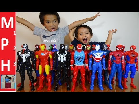 Menyuam Iron Man and Spider Man toy collection with EIGHT NEW TOYS!!!! MPH123