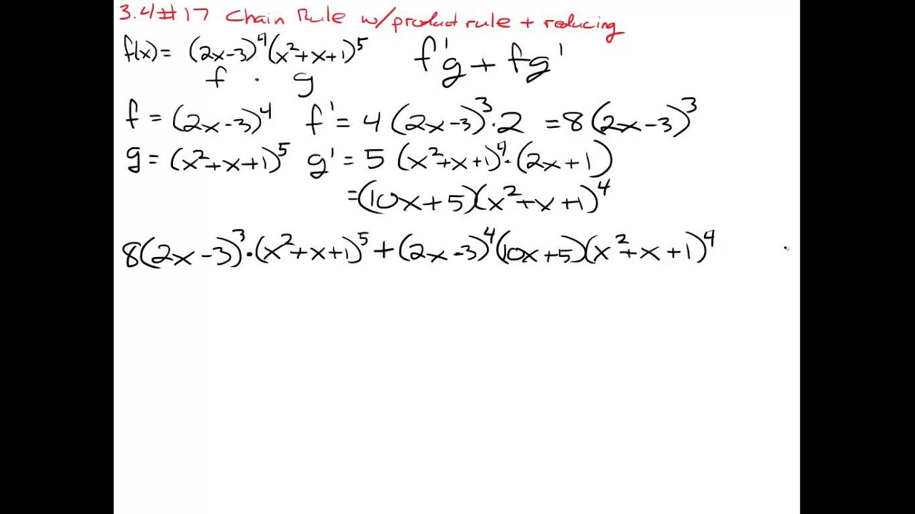 Calculus Chain Rule Product Rule Examples Youtube
