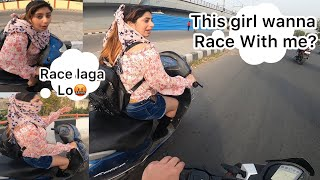 She forcefully Want To Race with KTM200