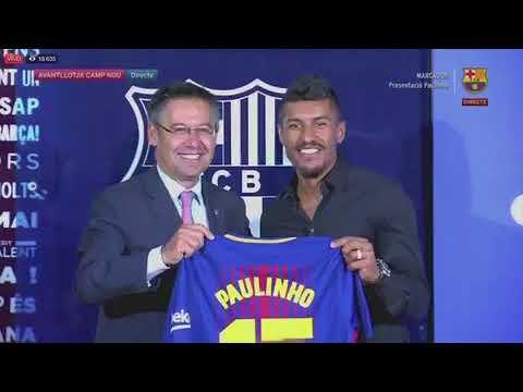 Presentación oficial de Paulinho con el FC Barcelona