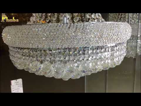 French Empire Gold Chrome Crystal Chandelier