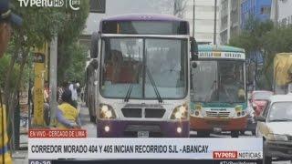 Buses de Corredor Morado 404 y 405 inician recorrido SJL - Av. Abancay