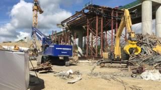 Aufräumarbeiten in Schraudenbach nach Brückeneinsturz