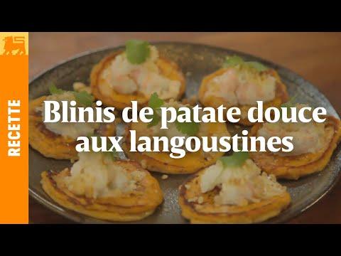 Blinis de patate douce aux langoustines