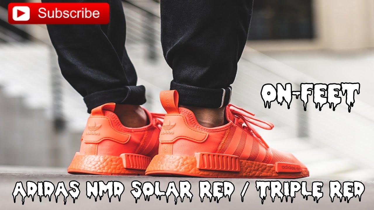 ADIDAS NMD R1 SOLAR RED   TRIPLE RED   ON-FEET - YouTube 644bb0f92751